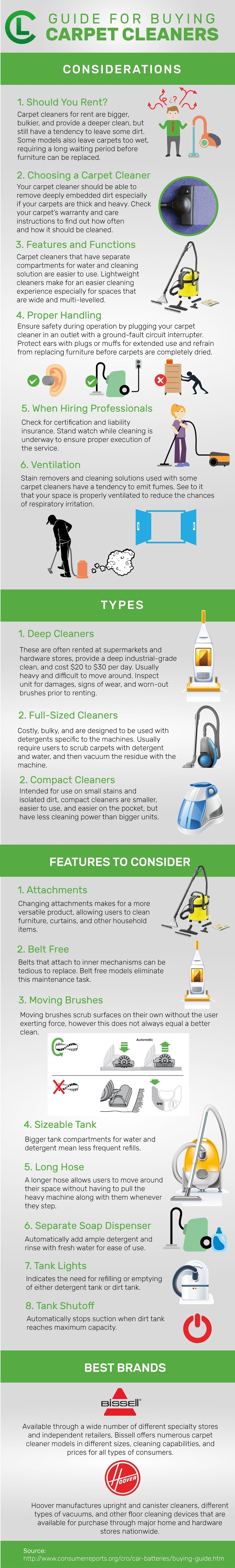 Guide For Buying Carpet Cleaners Infographic