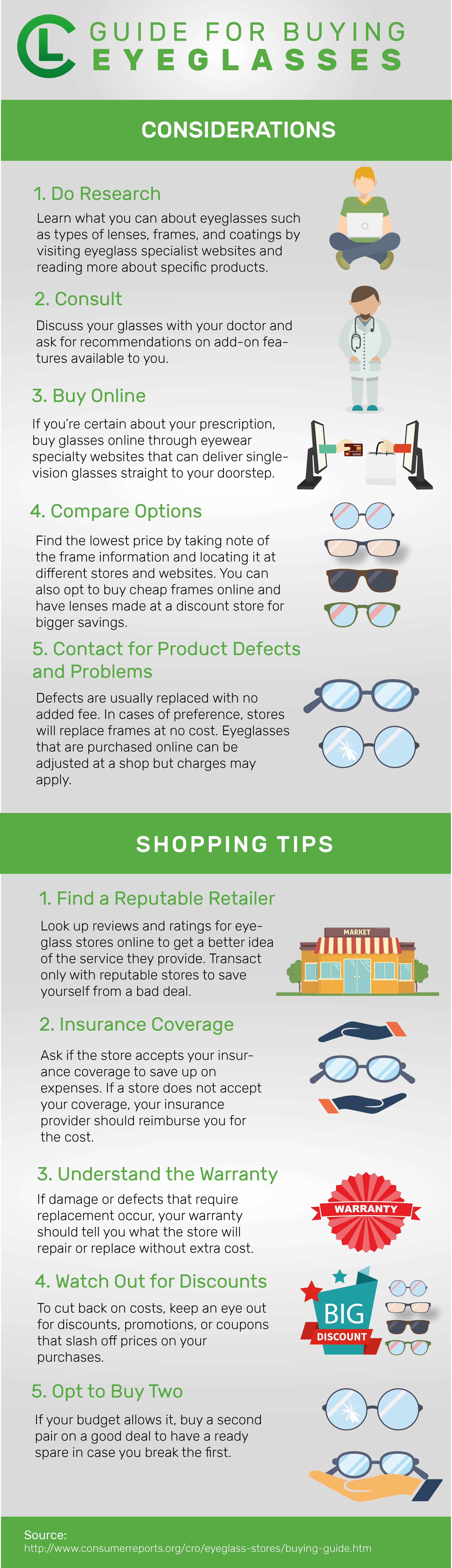 Guide For Buying Eyeglasses Infographic