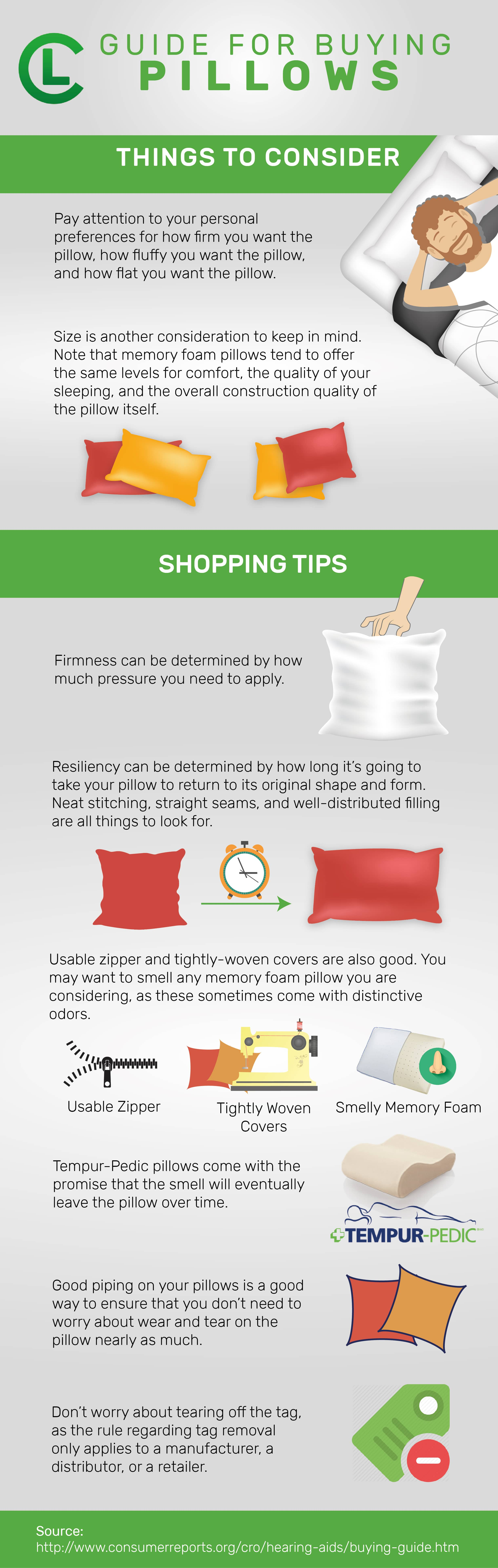 Guide For Buying Pillows Infographic