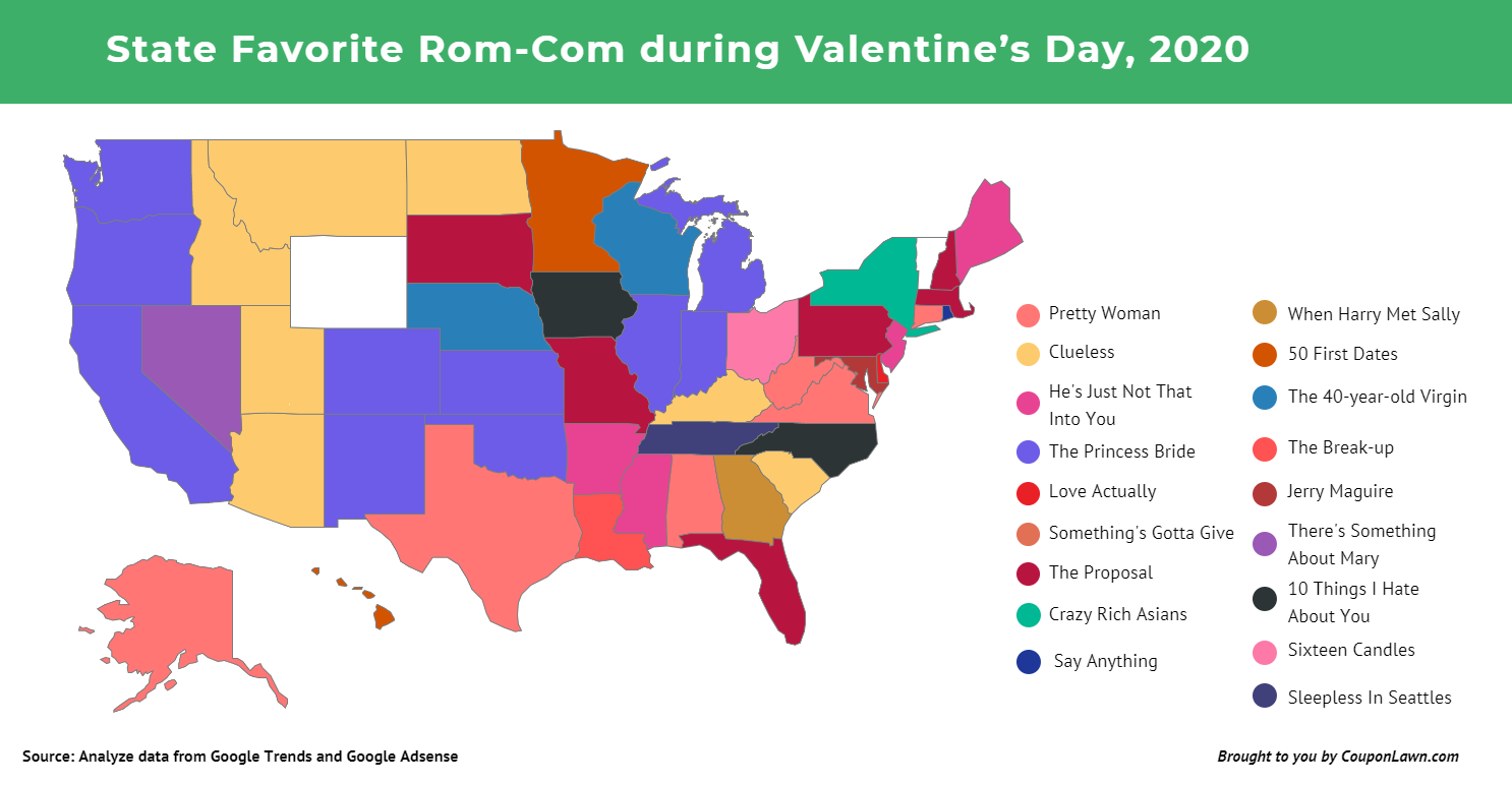 A color-coded US map showing the most popular rom-com in every state in 2020.
